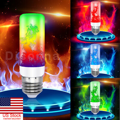 US 4Modes E27 7Color Fire LED Effect Light Bulb Flickering Flame Christmas Decor