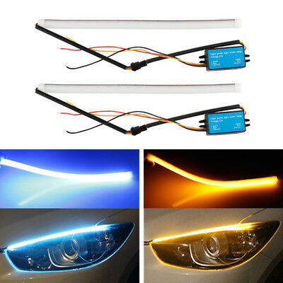 2Pcs 30cm LED Strip DRL Daytime Running Light Sequential Switchback Turn Signal