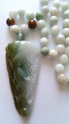 ^ Awesome Icy-Green Certified Jade Jadeite Pi Xiu Grape Pendant/necklace