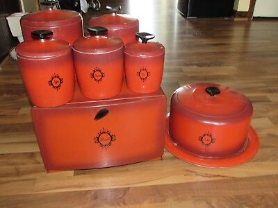 Vintage West Bend Red Canister Set, Bread Box, and Cake Taker - 7 Pieces