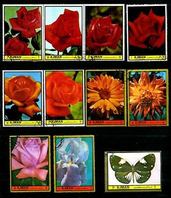 Ajman Stamps 1972 Flowers, Roses, field Flowers  CTO