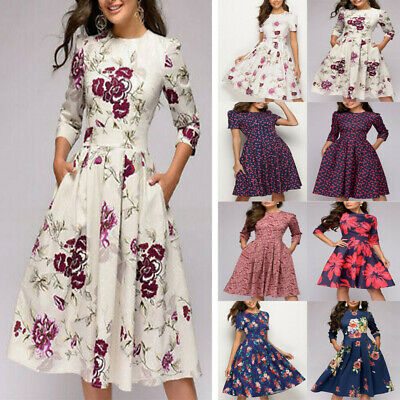 Autumn Winter Women's A-line Dress Party Cocktail Retro Floral Print Midi Dress