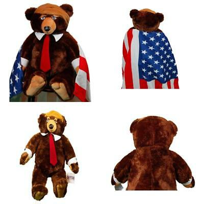 "Trumpy Bear 22"" with 28"" by 30"" American Flag blanket cape and zippered neck"