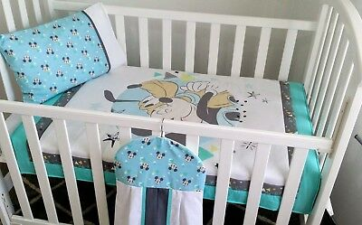 New Mickey Mouse & Pluto Cot bedding set + Nappy stacker in Grey, Turquoise blue