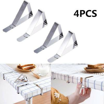 4 X Stainless Steel Table Cloth Cover Clips Quality Metal Pegs Clamp Picnic Prom