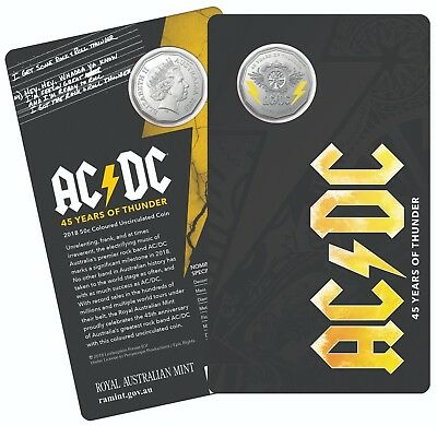 Free Post - 2018 Australia 50 Cents Ac/dc - 45 Years Of Thunder Unc Coin