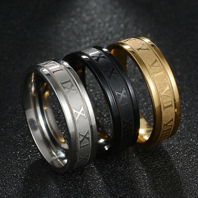 Cool Men Women Stainless Steel Punk Rings Fashion Roman Numeral Rings Jewelry