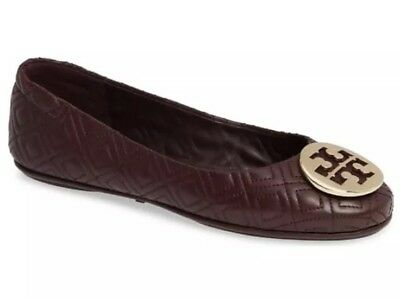 fff3edaacb90 TORY BURCH Minnie Quilted Travel Reva Gold Logo FLATS SIZE 7M Leather  295