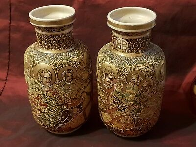 Pair of early 20th Century Japanese Satsuma Vases with Hand Painted Immortals