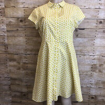 Womens Boden Vintage Style Floral Pockets Short Sleeve Dress Lined