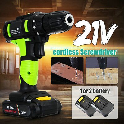 21V Electric Cordless Hand Drill Bit Hole Screwdriver w/ 1x Battery Rechargeable