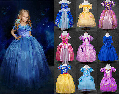 Princess Dress Fancy Kid Girl Costume Rapunzel Cinderelle Belle SnowWhite Party