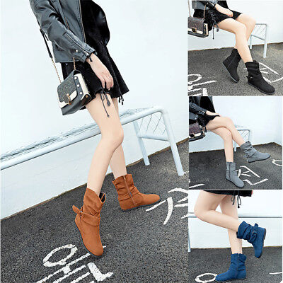Women Zipper Mid Calf Flat Slouchy Ankle Boots Party Outdoor Prom Casual Shoes
