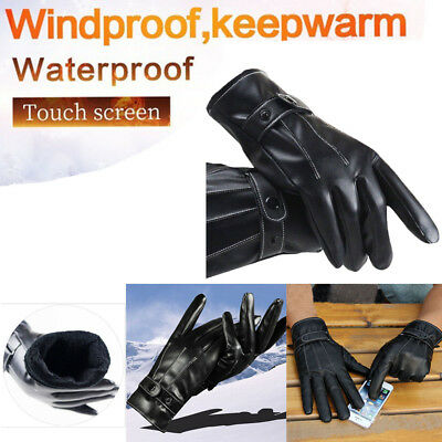 Winter Warm Leather Thermal Fleece Lined Gloves Men Women's Driving Touch Screen