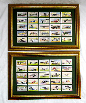 Framed 1935 CIVIL AIR PLANES Players Trade Cards 50th Anv. issue Set GREAT GIFT