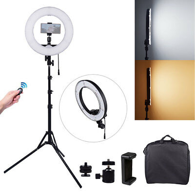 "12"" 3200K-5500K Bi-color LED Dimmable Ring Light with Stand Remote Clamp Kit UK"