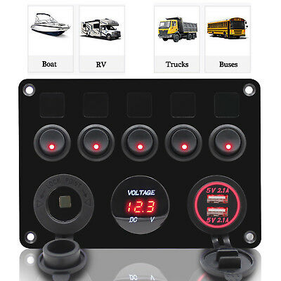 5 Gang ON-OFF Toggle Switch Panel 2USB for Car SUV Marine RV Truck Camper 12-24V