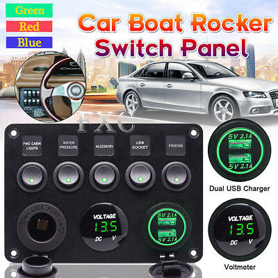 5 Gang Toggle Switch Panel Breaker Green LED Voltmeter RV Car Marine Boat 12-24V