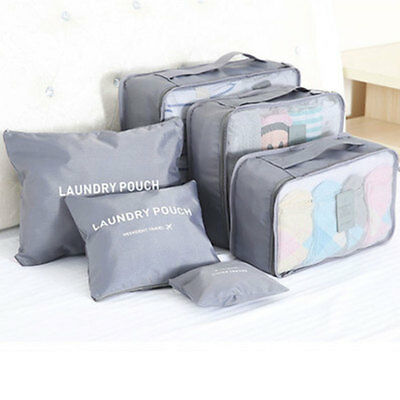 Waterproof Clothes Storage 6Pcs Travel Bags Luggage Organizer Pouch Packing Cube