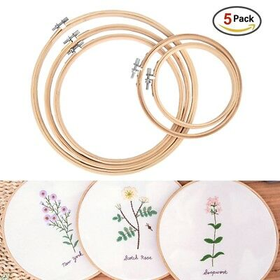 5Pcs/Set Embroidery Stitch Bamboo Hoop Sewing Frame Cotton Sewing Craft DIY Tool