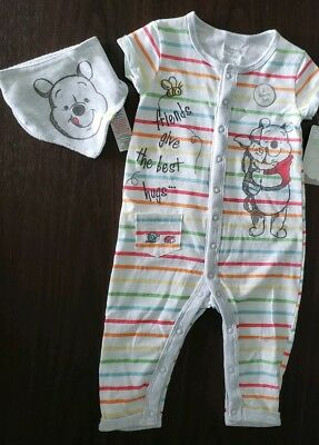 Disney Winnie the Pooh Friends give the best hugs babys sleepsuit 9-12 month NEW