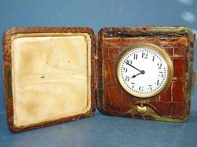 Crocodile Skin Travel Clock Watch Swiss Made Vintage Antique