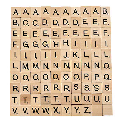 100 Wood Scrabble Tiles Letter Alphabet Scrabbles Number English Word Kids Learn