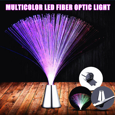 Multi Color Changing LED Light Fibre Optic Fountain Night Lamp Room Bar Decor