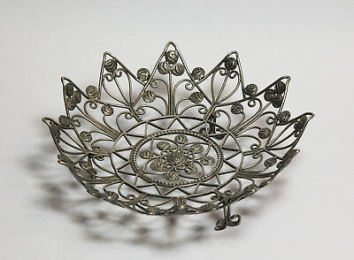Rare Indian Fanam coin bowl filigree solid silver Asian  antique