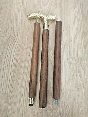 Gentlemens Classic Style Wooden Walking Stick Cane Brass Handle Classic - 3 Fold