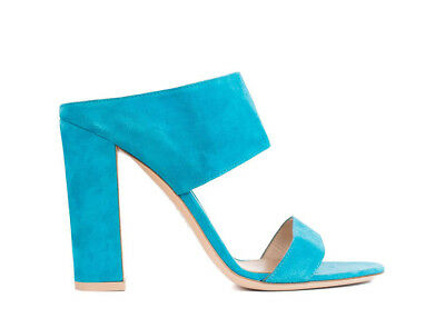 8b2418dc237eba Gianvito Rossi Teal Blue Suede Double Cross Strap Mule Sandals  IT37 US7~RTL 695