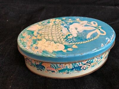 Antique Candy Tin Box Easter Eggs Bunny