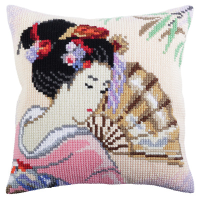 Collection d'Art Cushion Cross Stitch Kit: Beautiful Japanese - All Included