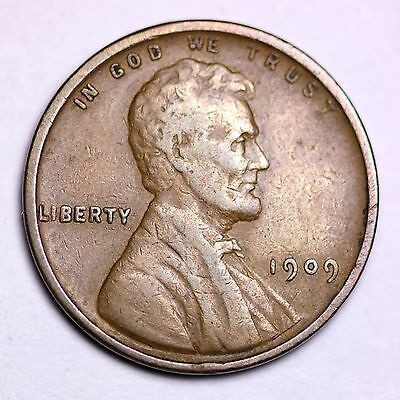 1909 V.D.B. Lincoln Wheat Cent Penny LOWEST PRICES - CHOICE COIN!  FREE SHIPPING