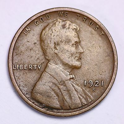1921-S Lincoln Wheat Cent Penny LOWEST PRICES ON THE BAY!  FREE SHIPPING!