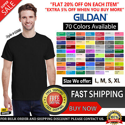 Gildan Plain Mens Heavy Cotton T-Shirts Blank Tshirt 100% Cotton T Shirt S-XL
