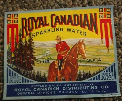 Vintage 1930s Royal Canadian Sparkling water Label Royal Canadian Mounted Police