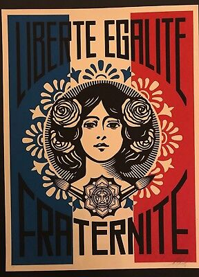 LIBERTE, EGALITE, FRATERNITE - Shepard Fairey - FIRST EDITION - Artist Proof