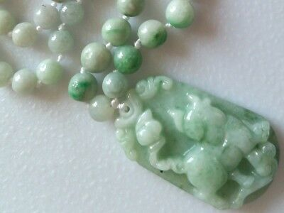 ^100% Natural Icy-Green Jade Jadeite Necklace & Hand-Carved Pig Ruyi Pendant