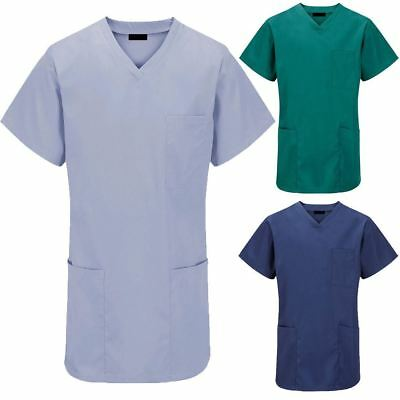 New Unisex Hospital Medical Work Wear Surgical Dentist Doctor Scrub Tunic Top