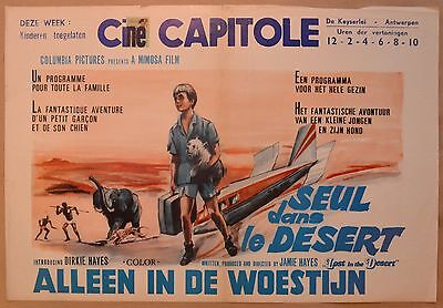 LOST IN THE DESERT, 1969 Belgian poster, art of boy wandering after plane crash!