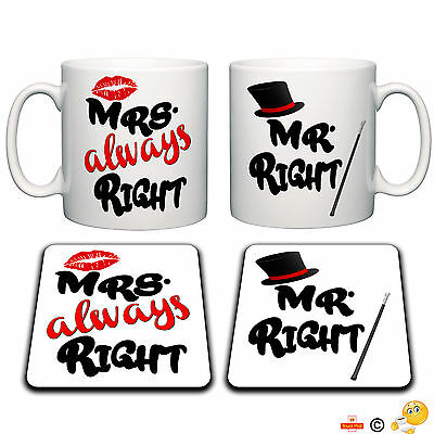 Mr and Mrs mug set funny novelty gift tea coffee home ideal present great gift