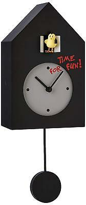 NEW PROGETTI Black 'Freebird Punk' Designer Quartz Cuckoo Wall Clock 024870NE