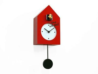 NEW PROGETTI Red 'Freebird Punk' Designer Quartz Cuckoo Wall Clock 024870RO