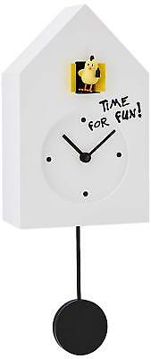 NEW PROGETTI White 'Freebird Punk' Designer Quartz Cuckoo Wall Clock 024870BL