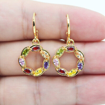 18K Yellow Gold Filled Women Rainbow Big Circle Topaz Zircon Dangle Earrings