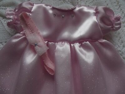 """Pink Sparkle Dress To Fit 18"""" Baby Annabell Doll Or Reborn Baby 18"""" Doll Clothes"""