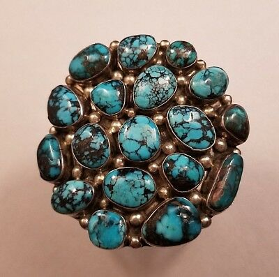 Navajo FRED GUERRO Sterling Persian Turquoise Cluster Bracelet 102 Grams