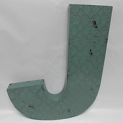 """Industrial Blue Metal 20"""" Wall Letter  """" J """"  Vintage Style Rustic Decor"""