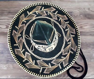 J. Jesus Liñan Authentic Sombrero Mexican Culture Miriachi Green Gold Gorgeous